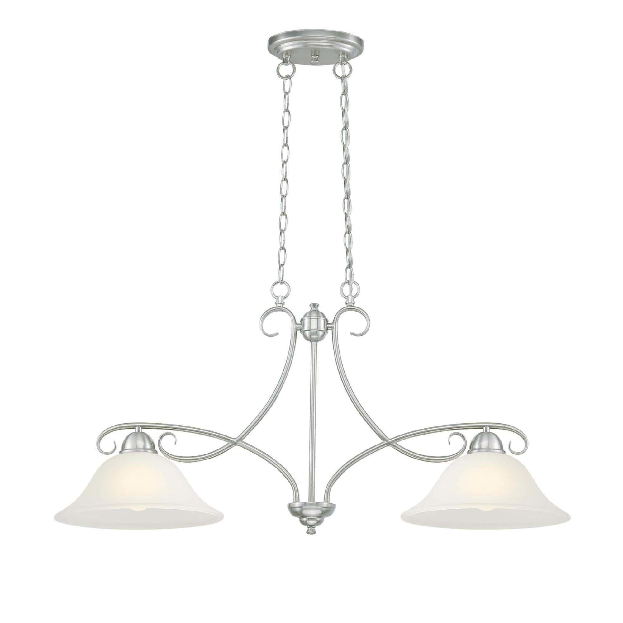Westinghouse Lighting 6573900 Dunmore Two Light Indoor Island Pendant Brushed Nickel Finish With Frosted Glass Walmart Com Walmart Com