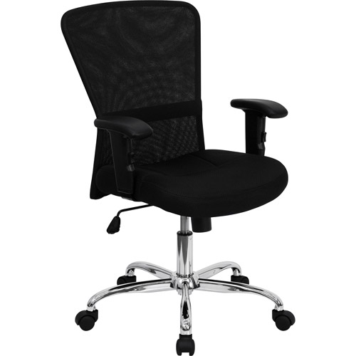 Mesh Office Computer Chair with Chrome Base, Black