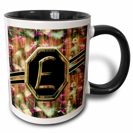 3dRose Elegant Pink Camouflage Monogram Letter E Faux Gold Wood Grain Image - Two Tone Black Mug, 11-ounce