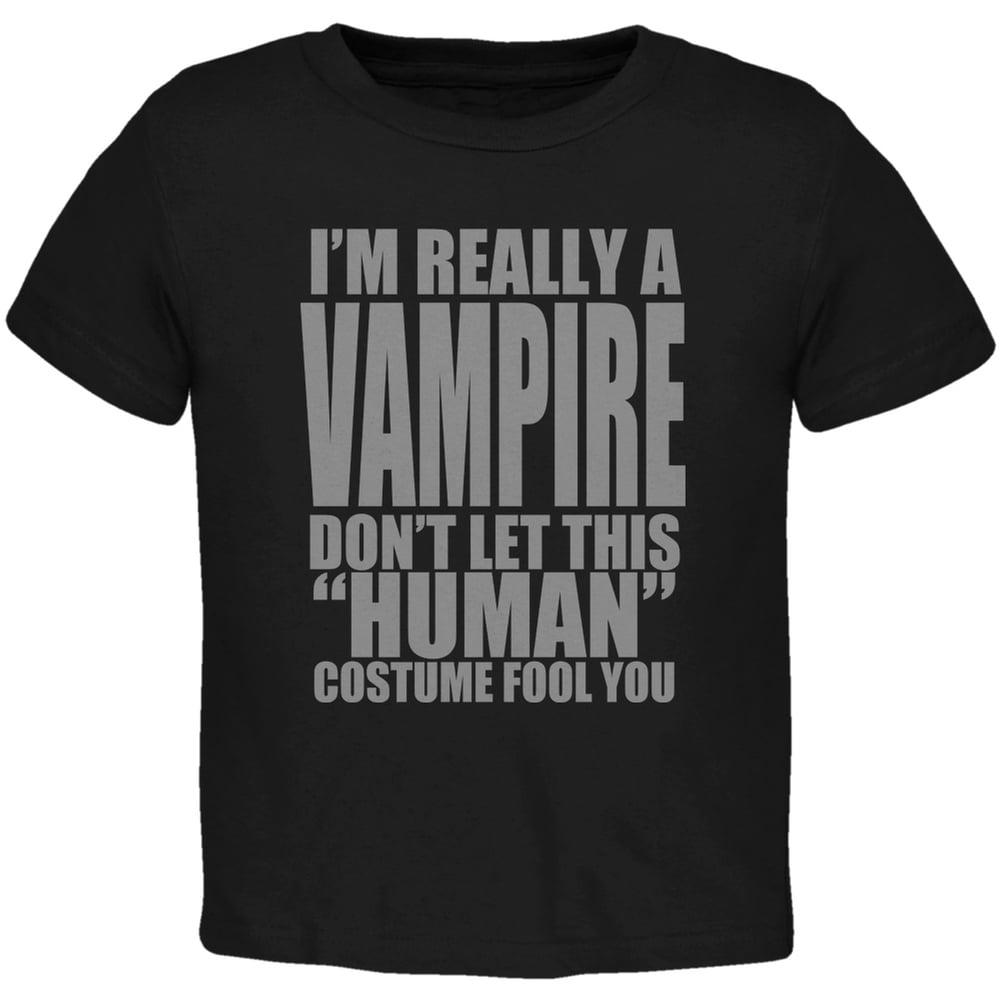 Halloween Human Vampire Costume Black Toddler T-Shirt