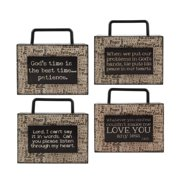 Blossom Bucket 4 Piece God Wood Box Signs Wall D cor Set