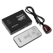 Insten 3 Port 3x1 1080P HDMI Intelligent AUTO Switch Switcher HUB Box Cable & IR Remote for LCD HDTV PS4 PS3 xBox 360 One Laptop PC (No AC Power needed)