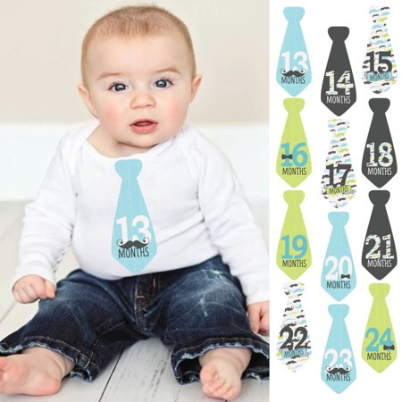 Dashing Little Man Mustache - Tie Baby Boy Second Year Monthly Sticker Set - Baby Shower Gift Ideas-13-24 Months Necktie - Mustache Centerpiece Ideas