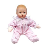 Baby Huggums With Pink Check Onesie 29200, 12-inch baby doll is the perfect size for a child's hands. By Madame Alexander