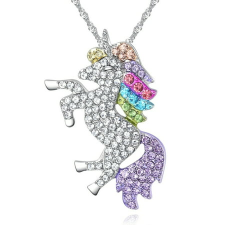 Colorful Unicorn Pendant Rainbow Crystal Stones Horse Animal Necklace, J-471