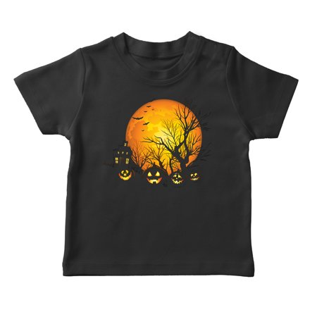 Halloween Haunted House And Full Moon Boy's Black T-shirt