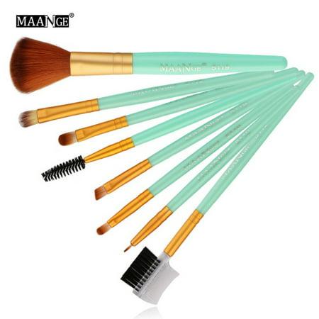 SNHENODA 8 Pcs Makeup Brushes Kit Blush Eye Shadow Eyeliner Eyebrow Brush Makeup Brushes Set - Black And Green Halloween Eye Makeup