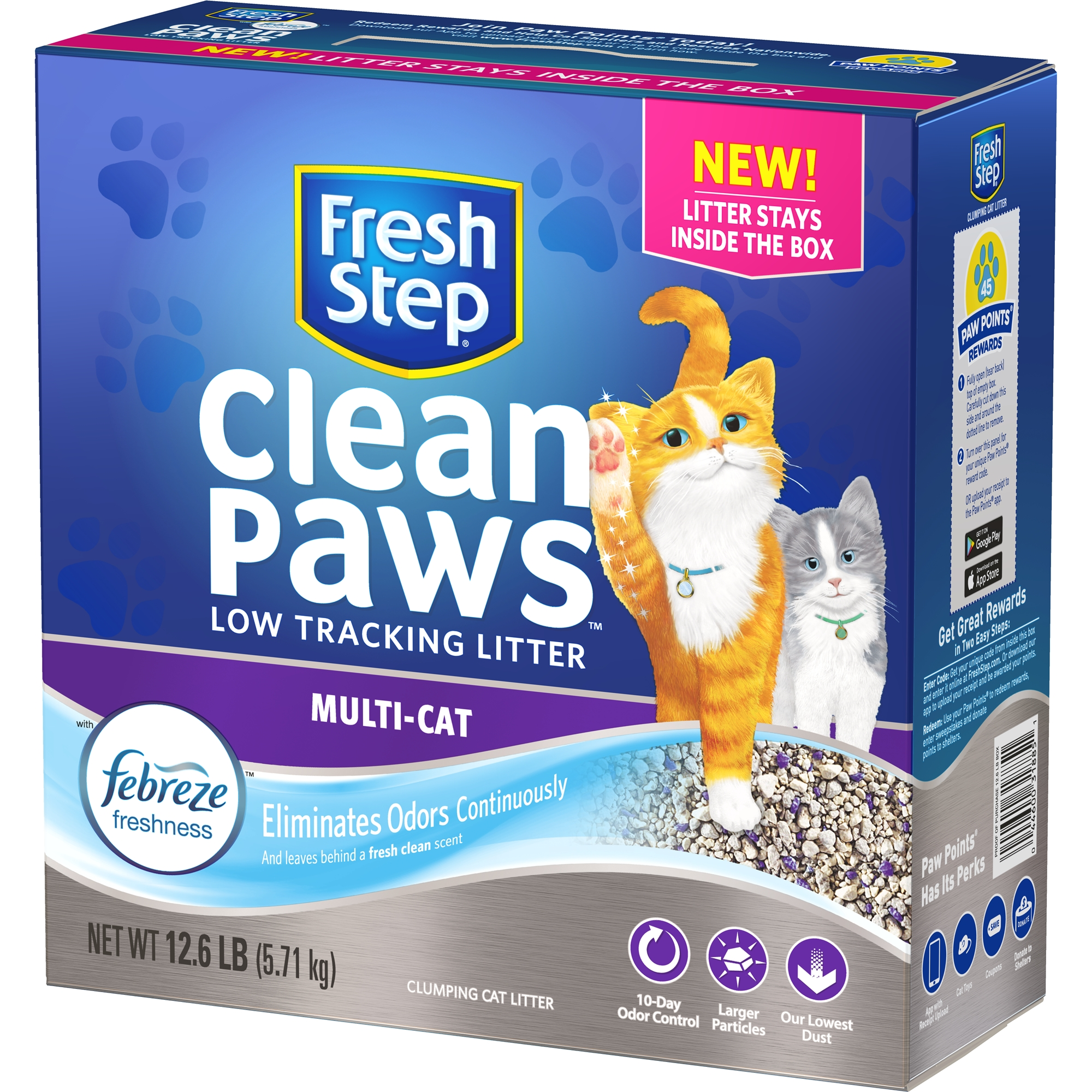 Fresh Step Clean Paws Multi-Cat Scented Litter with the Power of Febreze, Clumping Cat Litter, 12.6-lb