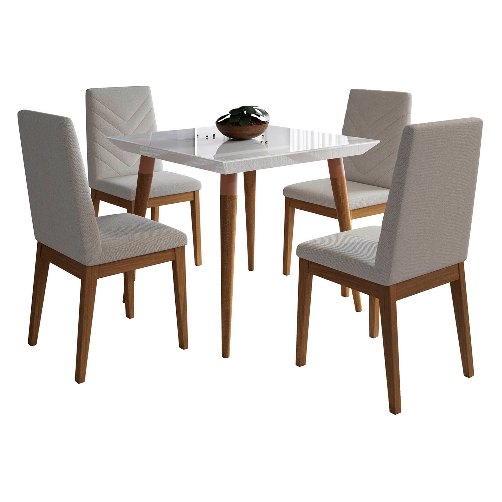 Manhattan Comfort Utopia and Catherine 5 Piece Square Dining Table Set