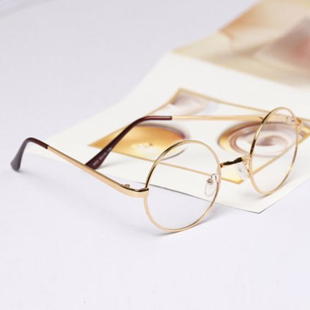dadec643fee Vintage Women Men Round Circle Eyeglasses Metal Frame Glasses Optical -  Walmart.com