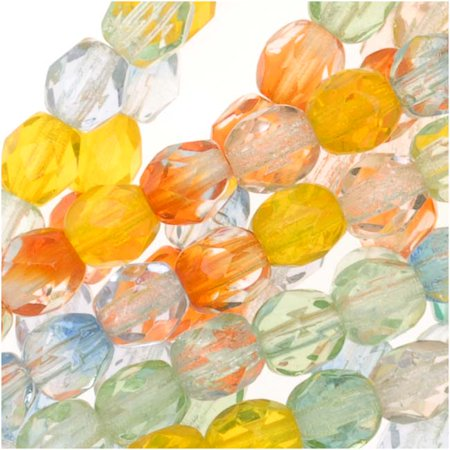 Czech Fire Polished Glass Beads 4mm Round Bright Rainbow Mix (50) - Bright Rainbow
