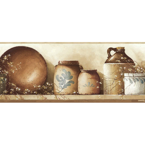 Brewster Home Fashions Borders by Chesapeake Irene Simple Pleasures Portrait 15' x 7.75'' Beverage 3D Embossed Border Wallpaper
