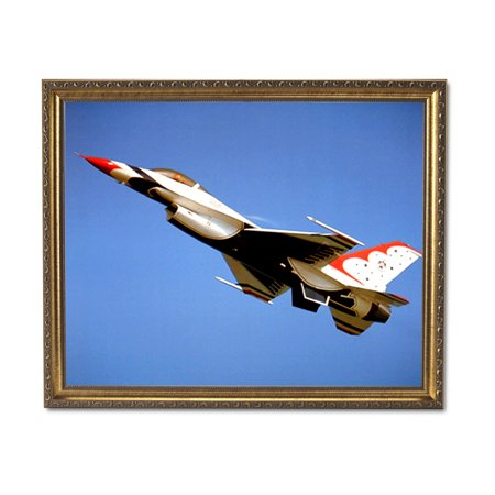USAF Thunderbird Jet Airplane Wall Picture Gold Framed Art Print ()