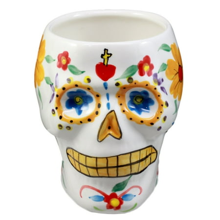 Ebros Gift White Day of The Dead Floral Sugar Skull Coffee Mug Drink Cup Ceramic Decor 6
