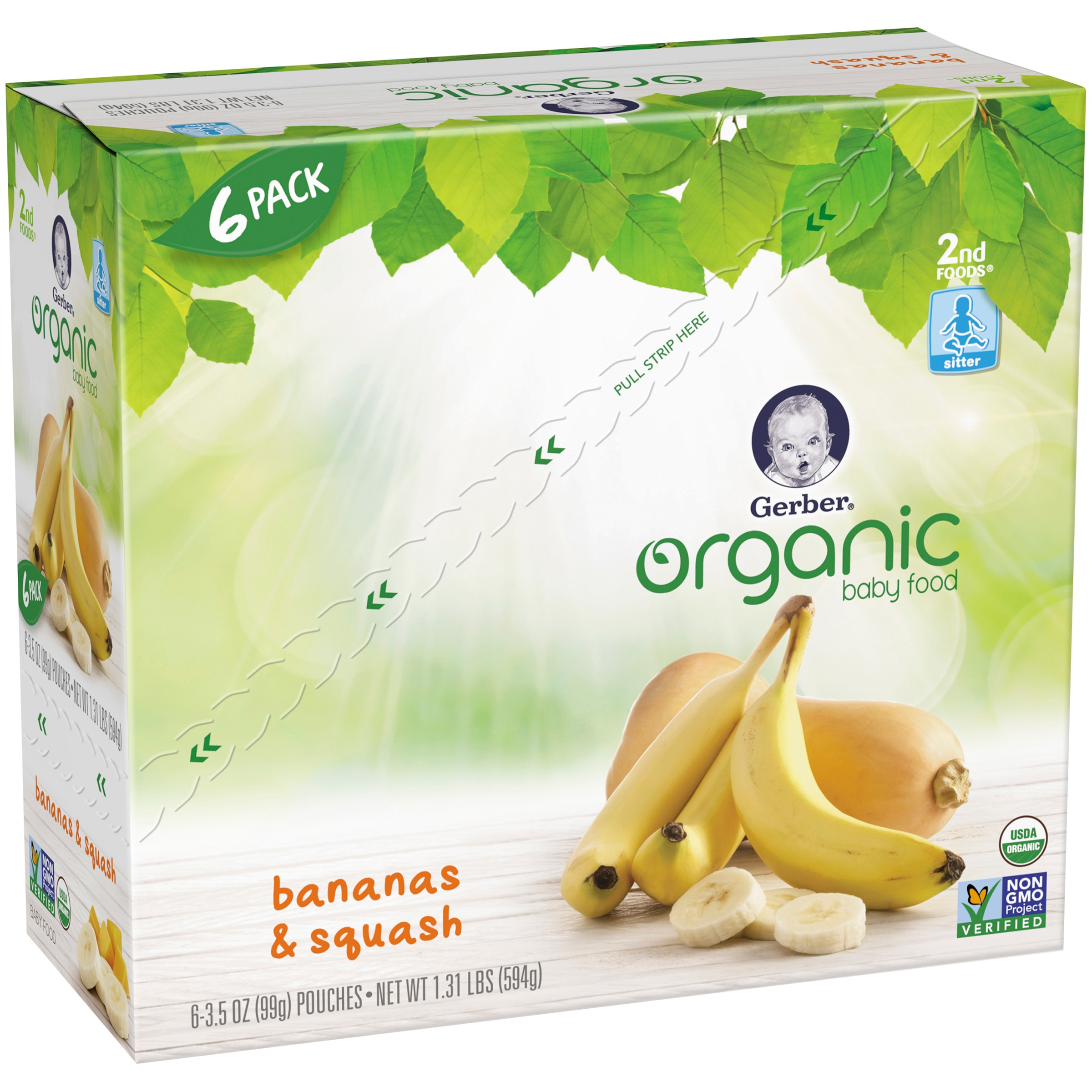Gerber Organic 2nd Foods Baby Food, Banana Squash, 3.5 oz Pouch (Pack of 6)