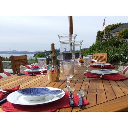 LAMINATED POSTER Teak Dining Table Setting Outdoor Dining Luxury Poster Print 24 x 36 (Table Settings)