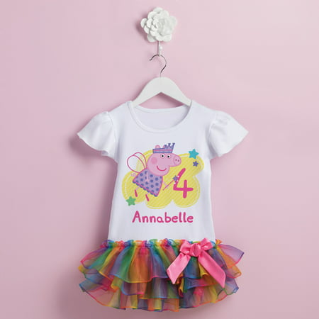 Peppa Pig Birthday Fairy Personalized Rainbow Toddler Girl Tutu Tee - Pepper Pig Birthday