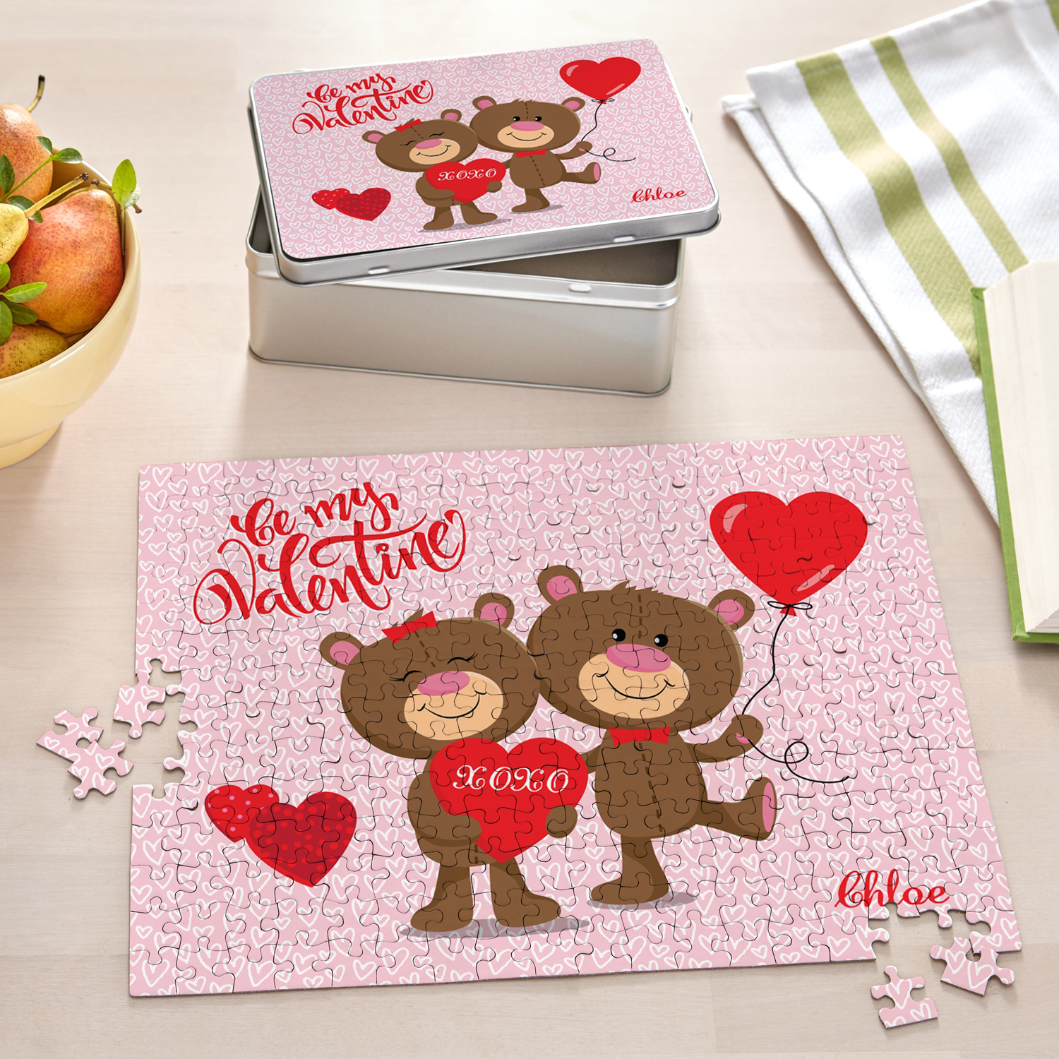Personalized Bear Hugs Valentine's Day Puzzle