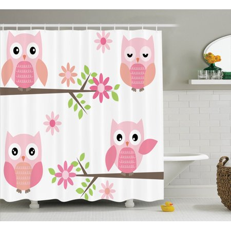 Owls Home Decor Shower Curtain Set Cute Baby Owls Waving In The Floral Tree
