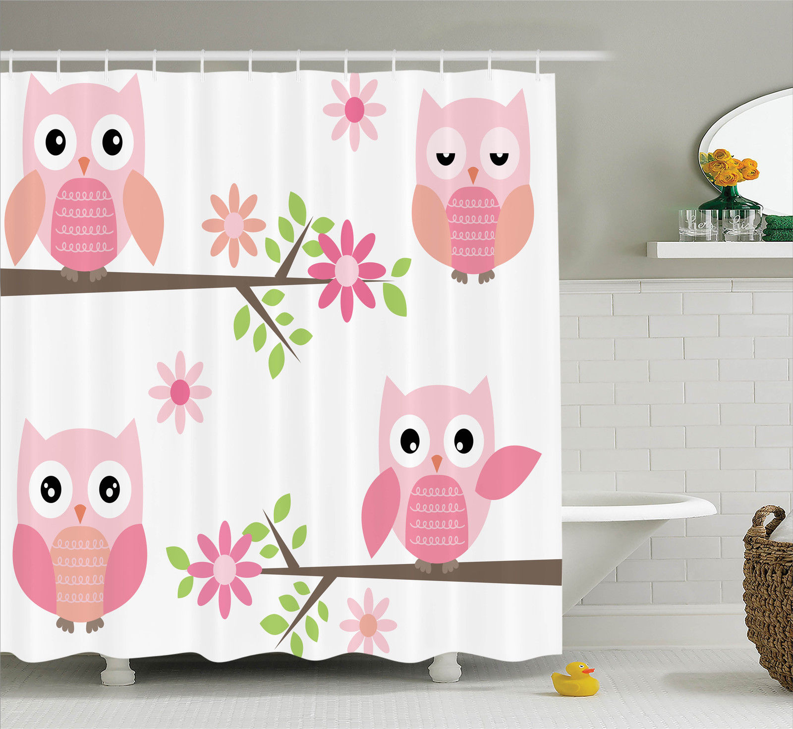 Owls Home Decor Shower Curtain Set, Cute Baby Owls Waving In The Floral Tree Springtime Artful Girly Design Print, Bathroom Accessories, 69W X 70L Inches, By Ambesonne