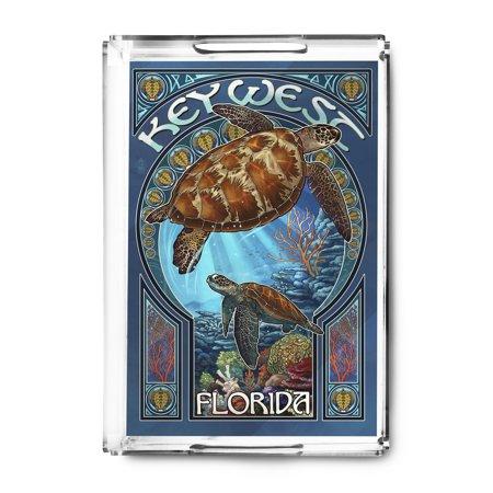 Key West, Florida - Sea Turtle Art Nouveau - Lantern Press Artwork (Acrylic Serving