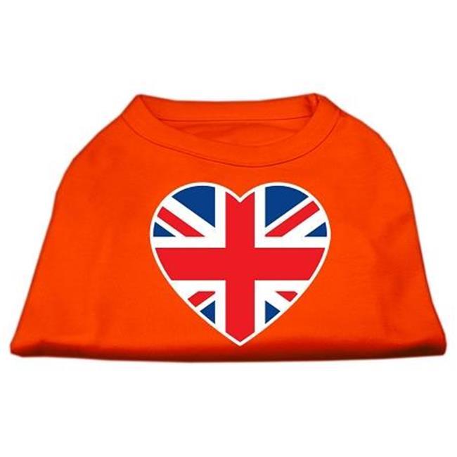 British Flag Heart Screen Print Shirt Orange Xxl (18) - image 1 of 1