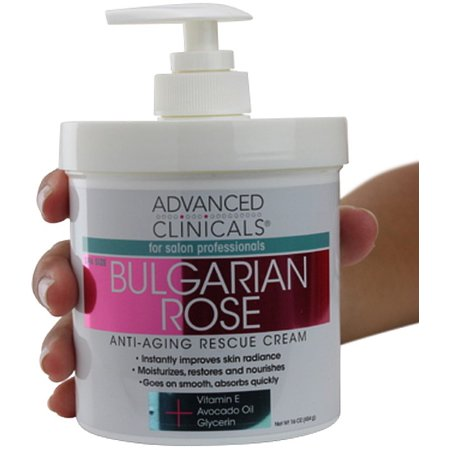 Anti Aging Hand Cream (Advanced Clinicals Bulgarian Rose Oil Cream Anti-Aging Rescue for Face, Hands, Neck. Spa Size 16oz )