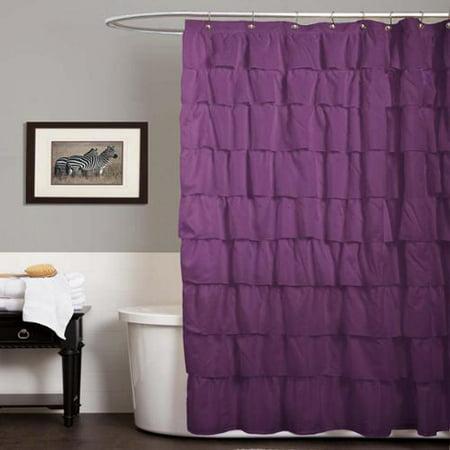 Lush Decor Ruffle Purple Shower Curtain