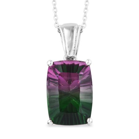925 Sterling Silver Platinum Plated Cushion Watermelon Quartz Fashion Chain Pendant Necklace 20
