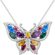 """Multi-Colored CZ Sterling Silver Butterfly Pendant, 18"""""""