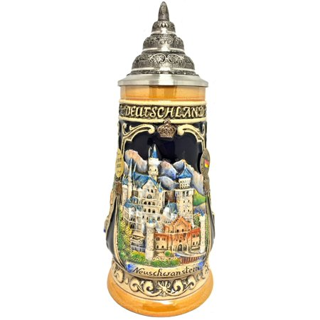 Bavaria Germany Saucer (Neuschwanstein Castle LE Relief German Beer Stein .25 L Bavaria Germany )