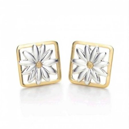 925 Silver Gold Plated Two Tone Square Daisy Stud Earrings
