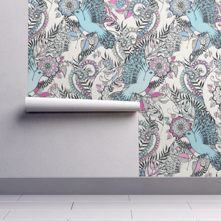 Peel-and-Stick Removable Wallpaper Bird Bird Pink Teal Black White Bird](Tweety Bird Halloween Wallpaper)