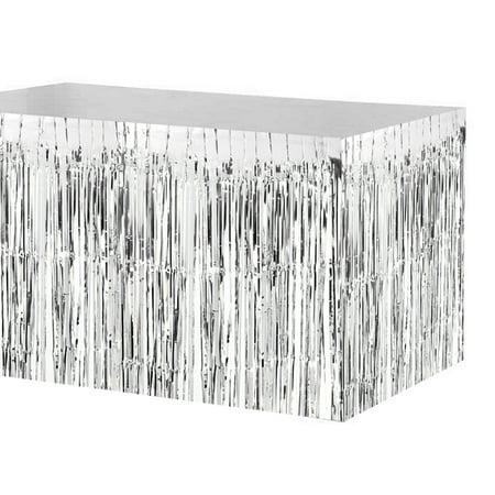 74 * 274cm Metallic Foil Fringe Table Skirt Tinsel Shimmer Table Skirt Decoration for Hotel Reception Wedding Christmas
