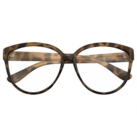 Emblem Eyewear - Womens Oversize Retro Nerd Clear Lens Fashion Cat Eye Geek (Womens Chanel Glasses)