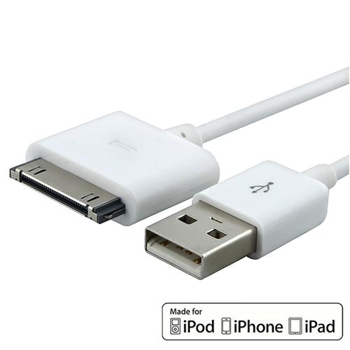 MFI USB 2-in-1 Sync Cable For Apple iPod Touch 4th/ iPhone 4S 4 / iPad 2 3 3rd (MFI-APRPDCB01), White