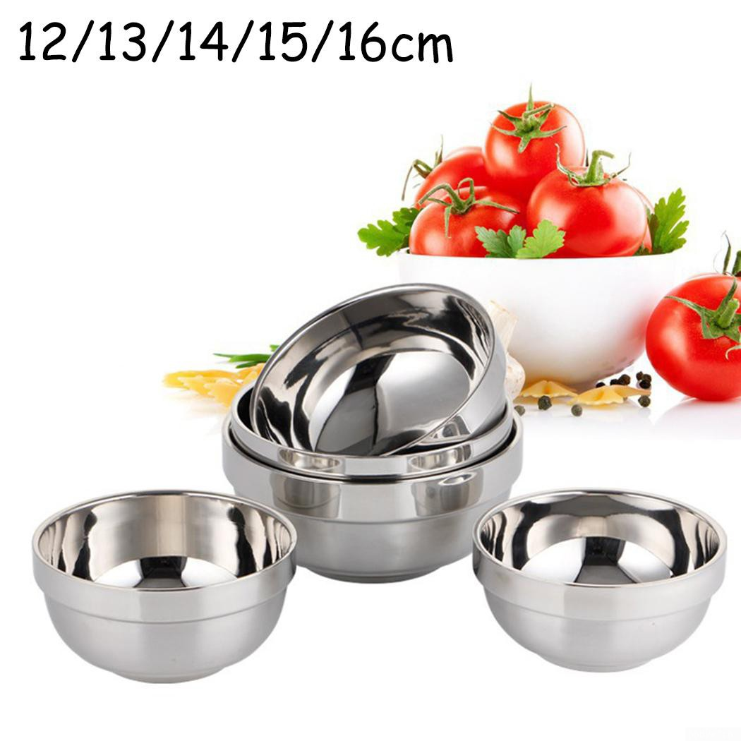 304 Stainless Steel Bowl Anti-scald Kitchen Rice Bowl Double-deck Bowls