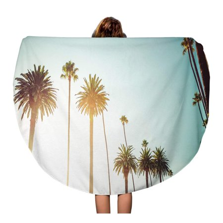KDAGR 60 inch Round Beach Towel Blanket Rodeo Drive in Beverly Hills Palm Trees Bordering Hollywood Travel Circle Circular Towels Mat Tapestry Beach (Rodeo Drive Circle)