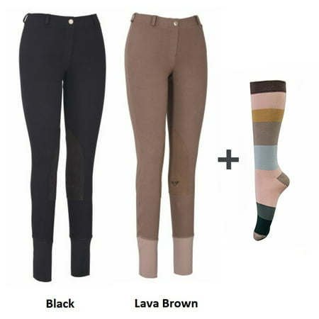 Tug Riding Pant (TuffRider Women Starter Lowrise Pull On Breeches with FREE Socks | Pack of Two Horse Riding Pants | Equestrian Apparel )