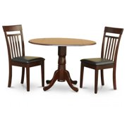 East West Furniture DLCA3-MAH-LC 3PC Kitchen Round Table with 2 Drop Leaves and 2 Slatted-back Chairs with Faux Leather Upholstered Seat