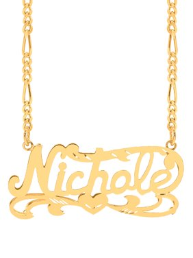 Personalized 10K Yellow Gold Diamond Cut Nameplate Necklace with an 18 inch Gold Filled Figaro Chain
