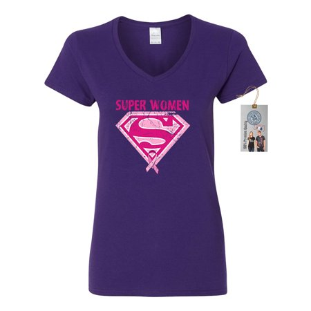 Breast Cancer Awareness Superwoman Womens V Neck T-Shirt Top (Woman With Three Breast)