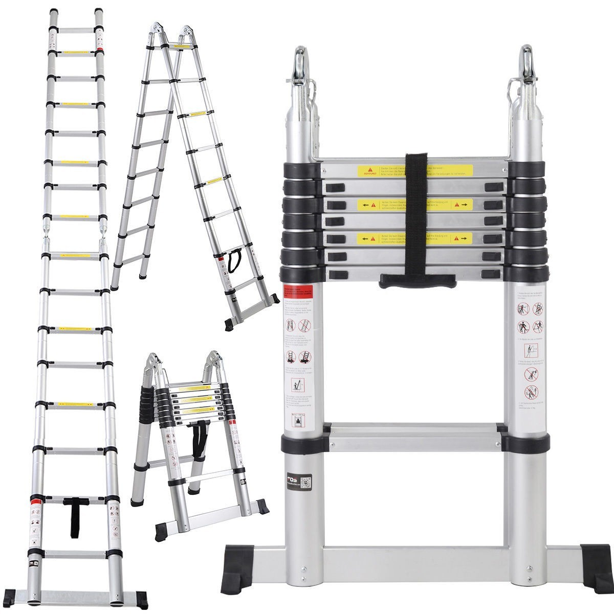 16.5 Ft Portable Aluminum Telescopic Ladder Telescoping A-type Extension Multi Purpose Lightweight