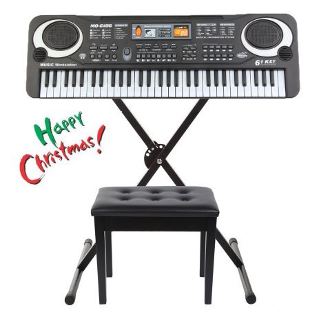 (61 Key Children's Digital Keyboard Music Piano Keyboard On Sale &Stand&Piano Seat On Sale for Adults Or Children Beginners Electronic W/Mic Organ)