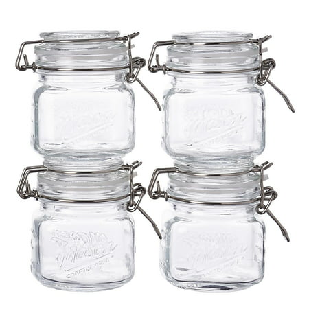 Mason Craft and More, Square Glass 7 Ounce Mini Clamp Jar, Set of 4 - Craft Jars