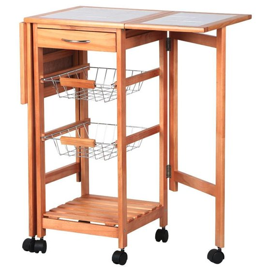 Us Portable Kitchen Rolling Cart Wood Island Serving: Ktaxon Rolling Portable Kitchen Island Storage Drawers