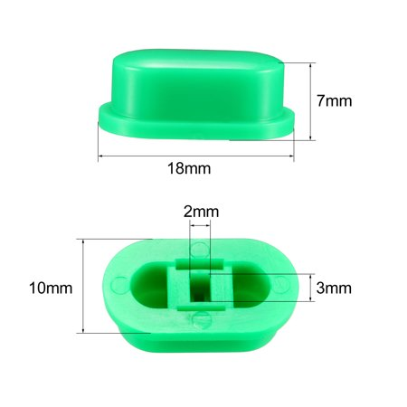 25Pcs Plastic 18x10x7mm Latching Pushbutton Tactile Switch Caps Cover Keycaps Protector Green - image 2 of 3
