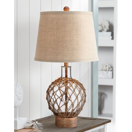 360 Lighting Nautical Table Lamp Clear Glass Rope Net Burlap Drum Shade for Living Room Family Bedroom Bedside Nightstand
