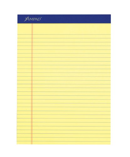 """Ampad Legal-ruled Writing Pad 50 SHeet 15 Lb Legal wide Ruled 8.50"""" X 11.75"""" 12   Dozen Canary Paper... by Ampad"""