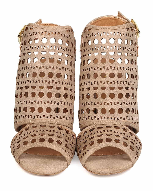 ae65b7886 Qupid - New Women Qupid Chester-32 Nubuck Peep Toe Perforated Block Heel  Mule - Walmart.com